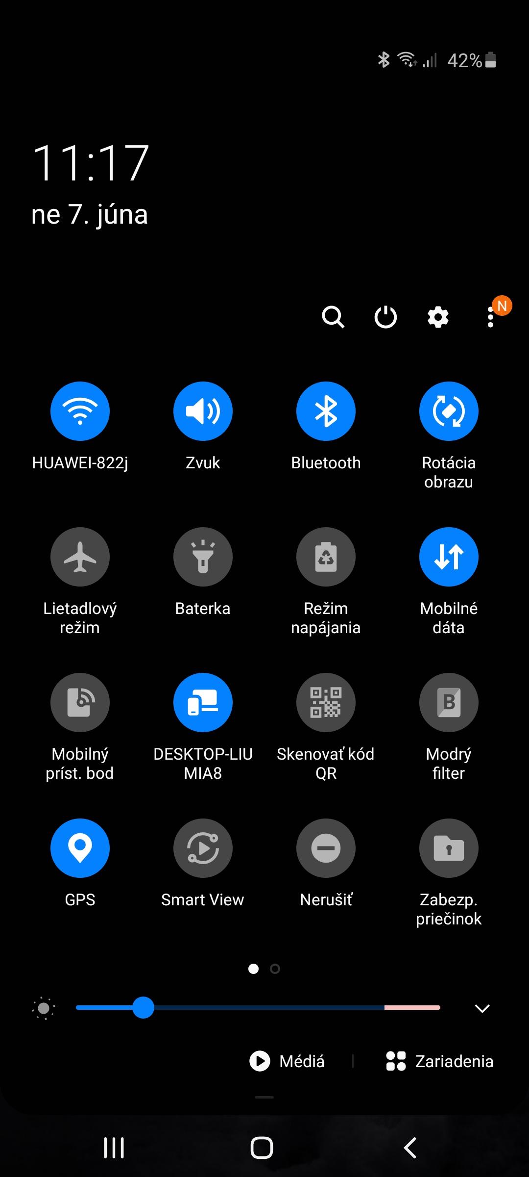 Samsung Galaxy A41 systém rýchle nastavenia