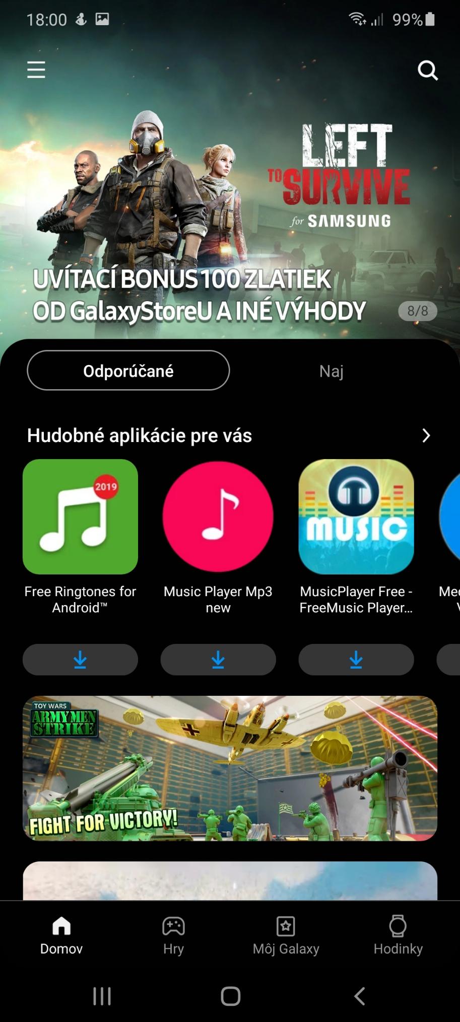 Samsung Galaxy A41 systém Galaxy Store