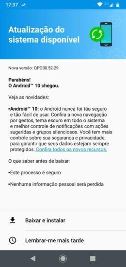Aktualizácia na Android 10 pre Moto G7 Power