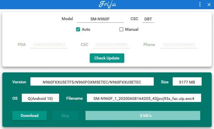 Samsung Galaxy Note 9 manuálna aktualizácia