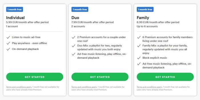 Spotify Duo, Family a bežný tarif