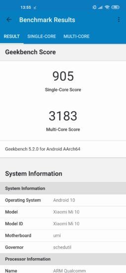 Geekbench skóre Xiaomi Mi 10