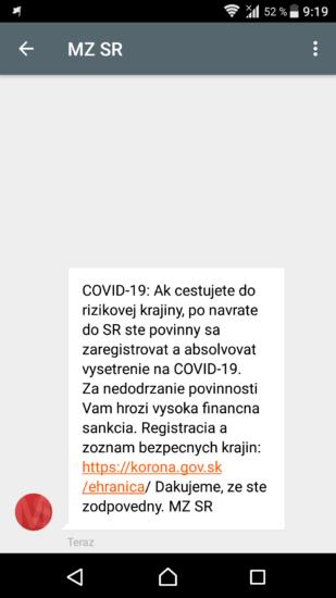 koronavirus rizikove krajiny sms