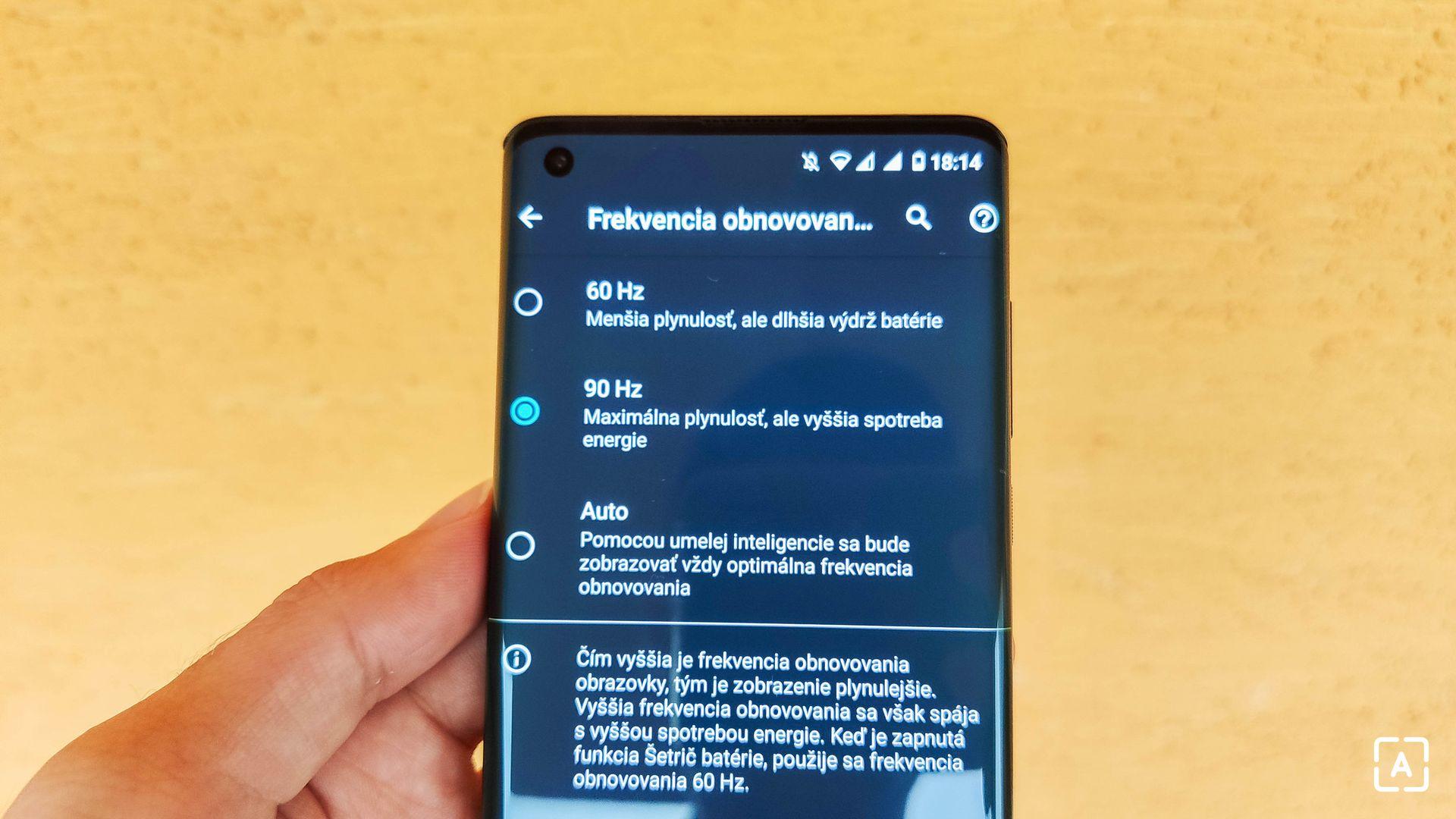 Motorola Edge displej možnosti