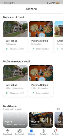 Google Mapy a ich záložka Uložené