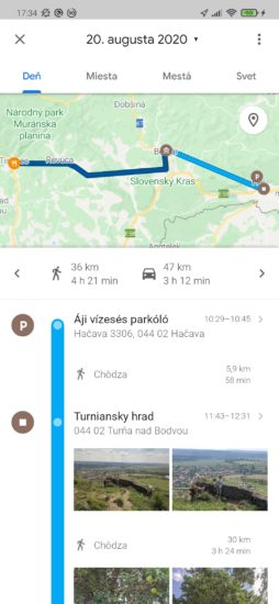 Google Mapy a ich časová os