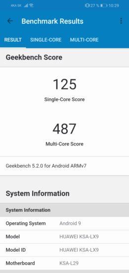 Honor 8S 2020 Geekbench výsledok