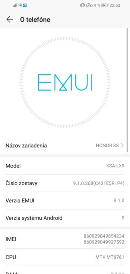 EMUI 9.1 na Honor 8S 2020
