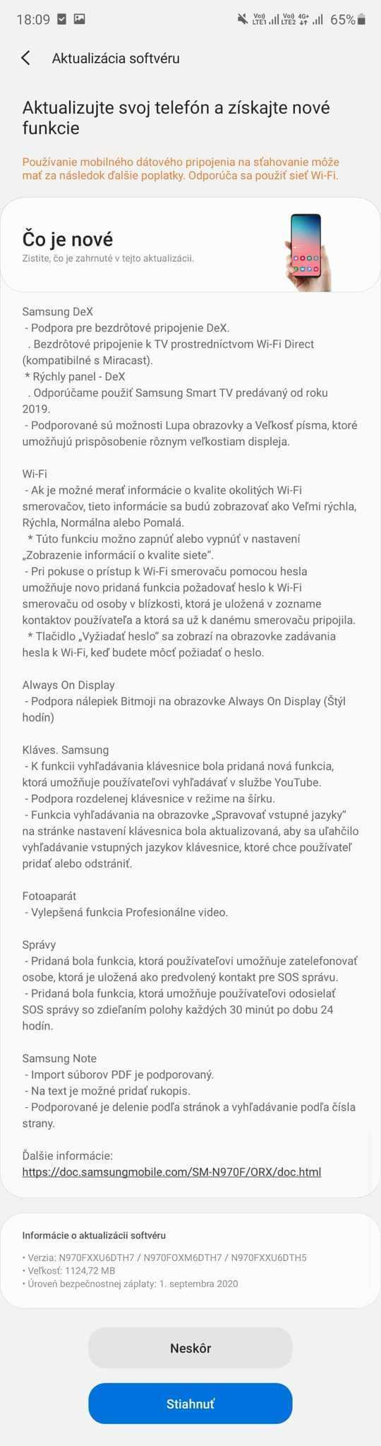 Samsung Galaxy S10 aktualizácia