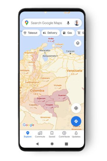 Google Mapy Covid-19 vrstva 3