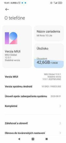 Xiaomi Mi Note Lite MIUI 12