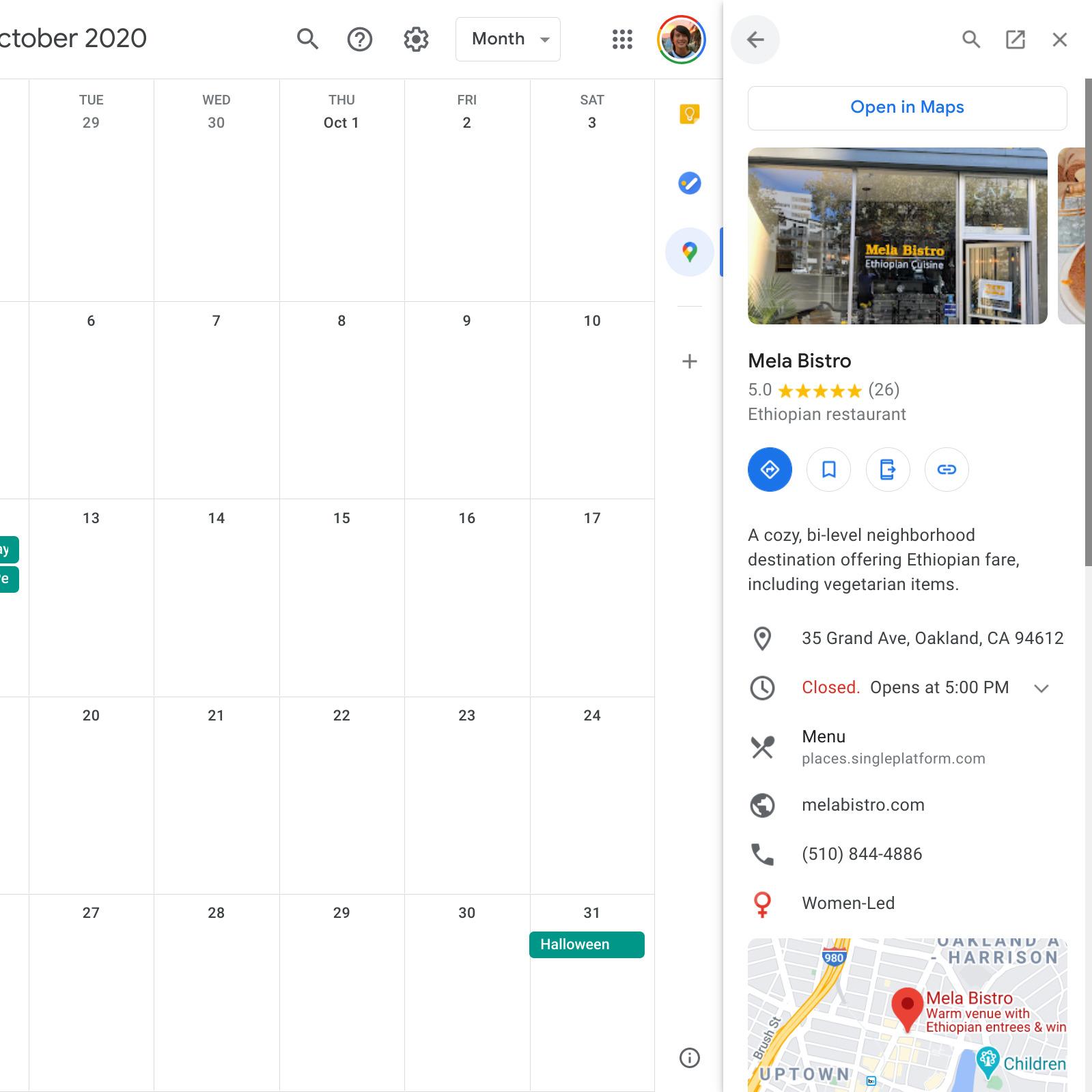 Google Kalendár doplnok Google Mapy 3