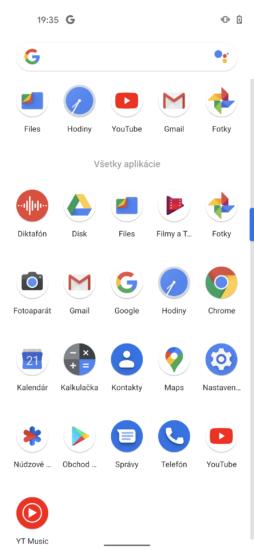 Pixel 4a Predinštalované aplikácie