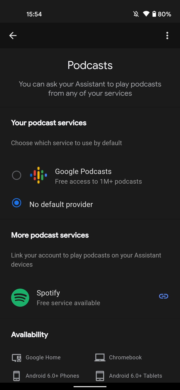 Google Asistent predvolená aplikácia na podcasty Spotify