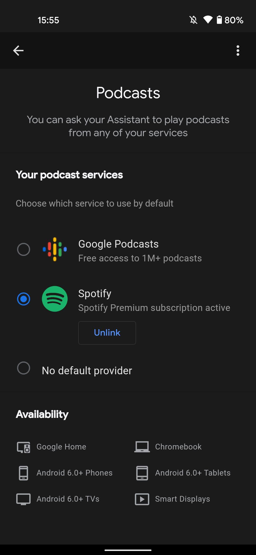 Google Asistent predvolená aplikácia na podcasty Spotify 2