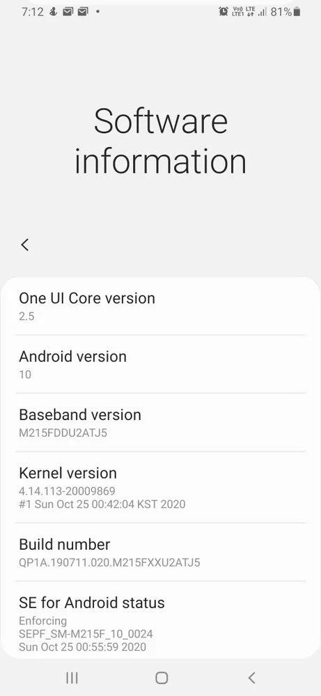 Samsung Galaxy M21 One UI 2.5