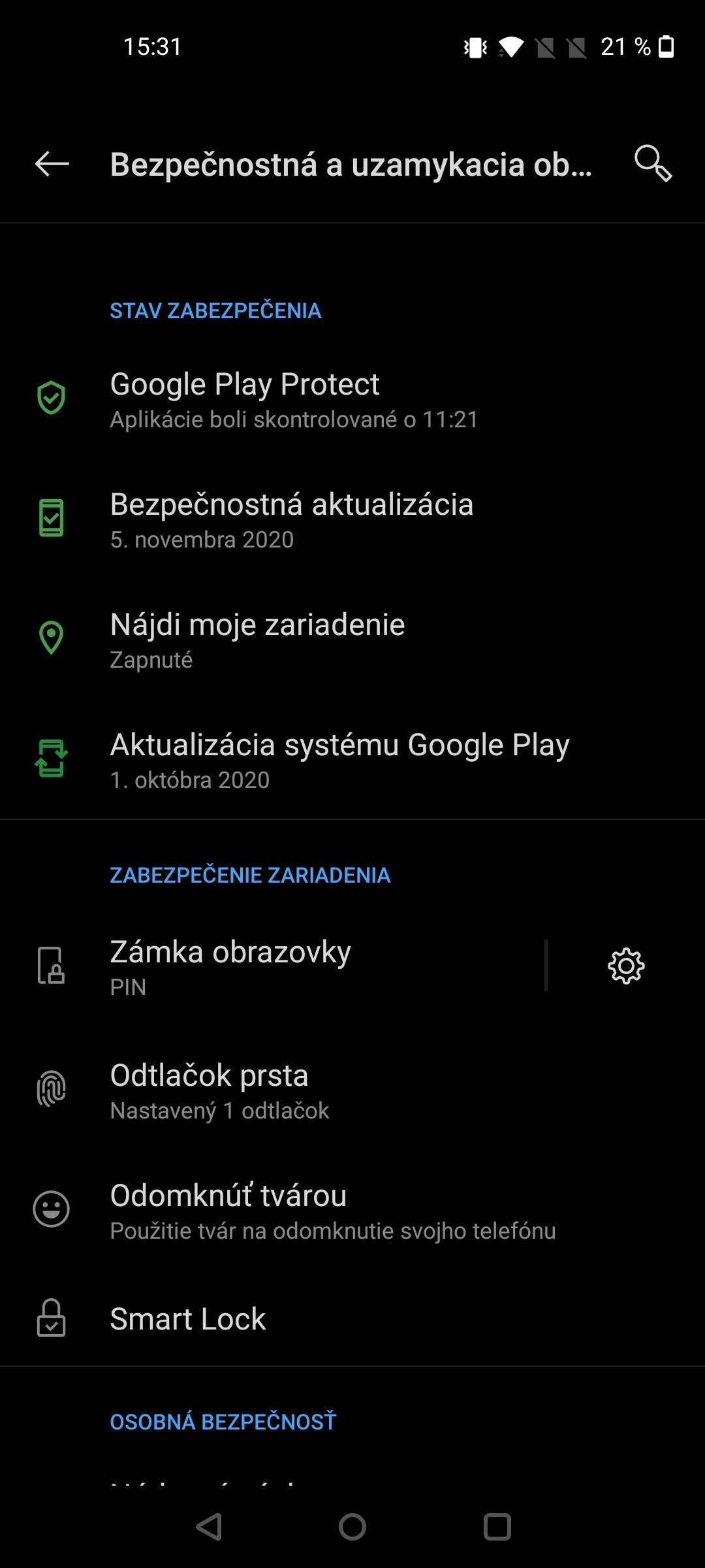 OnePlus Nord N10 screenshot moznosti odomykania (2)