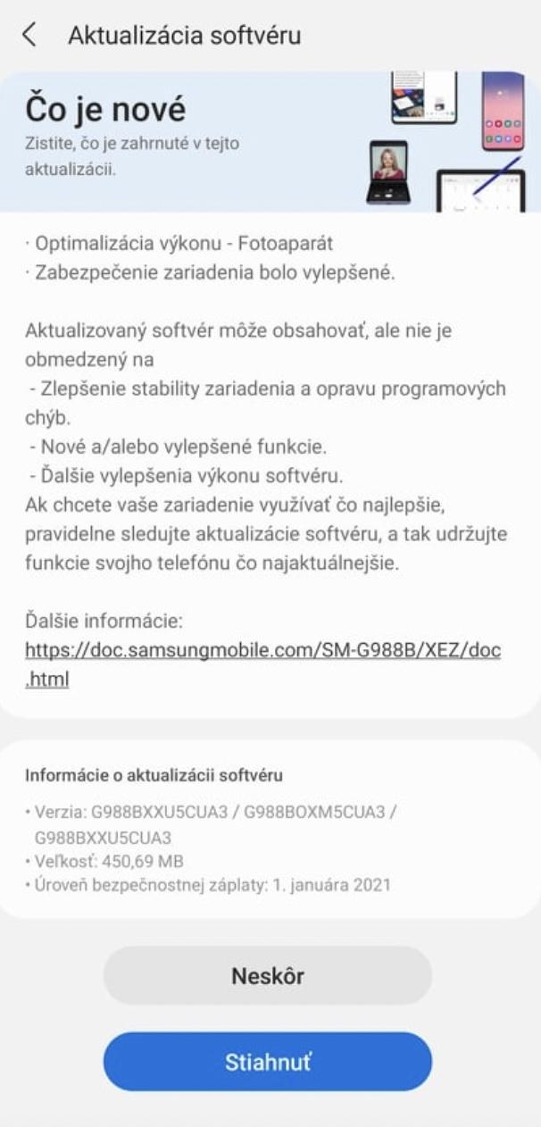 Samsung Galaxy S21+ aktualizácia január