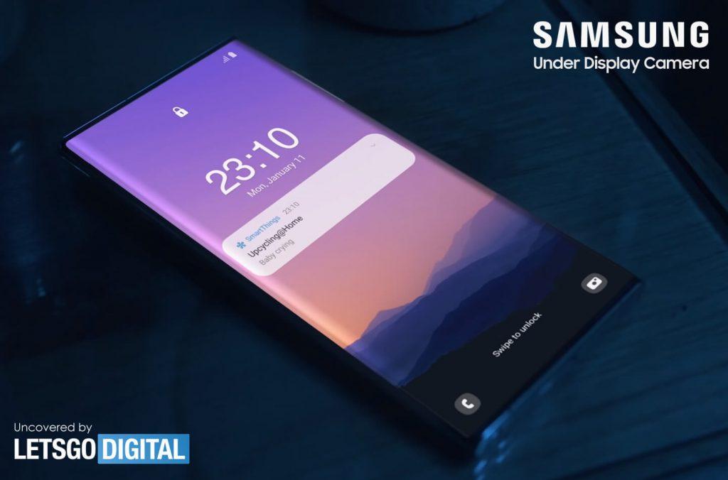 Snímka obrazovky z videa, kde Samsung ukázal smartfón so selfie fotoaparátom pod displejom