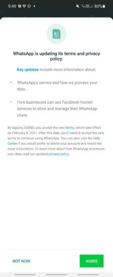 WhatsApp podmienky zdieľania dát