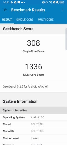 TCL 10 Plus Geekbench 5