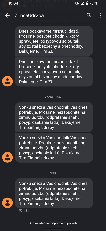 Zimná údržba - SMS výzvy