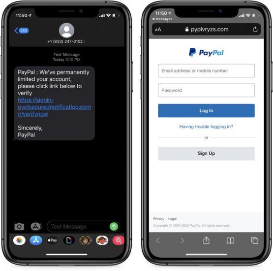PayPal phishingové SMS