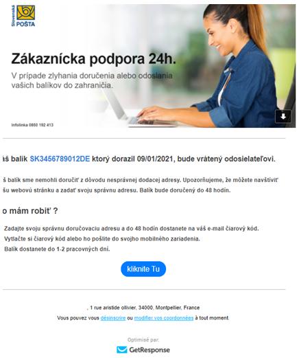 """Podvodný e-mail """"Slovenská pošta"""""""