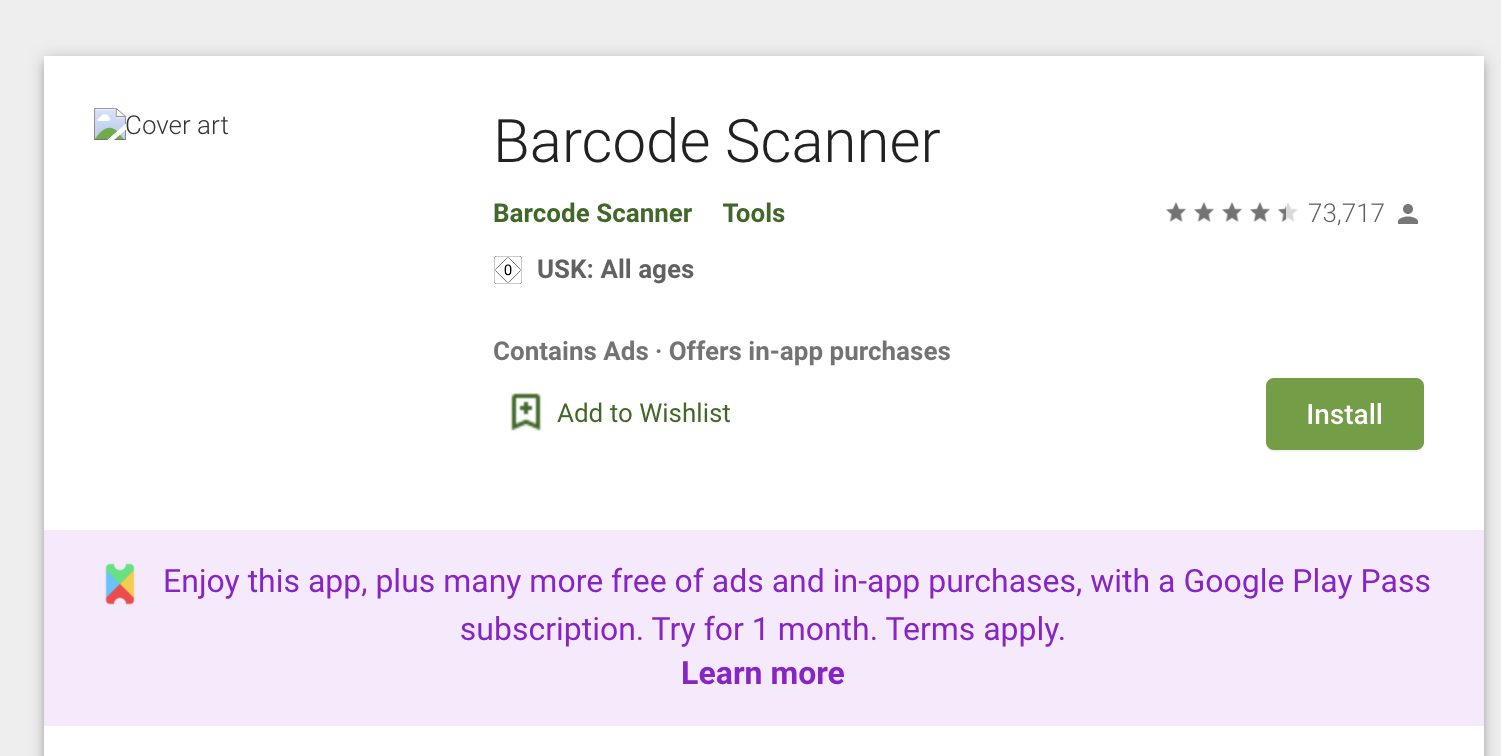 Barcode Scanner Google Play Pass