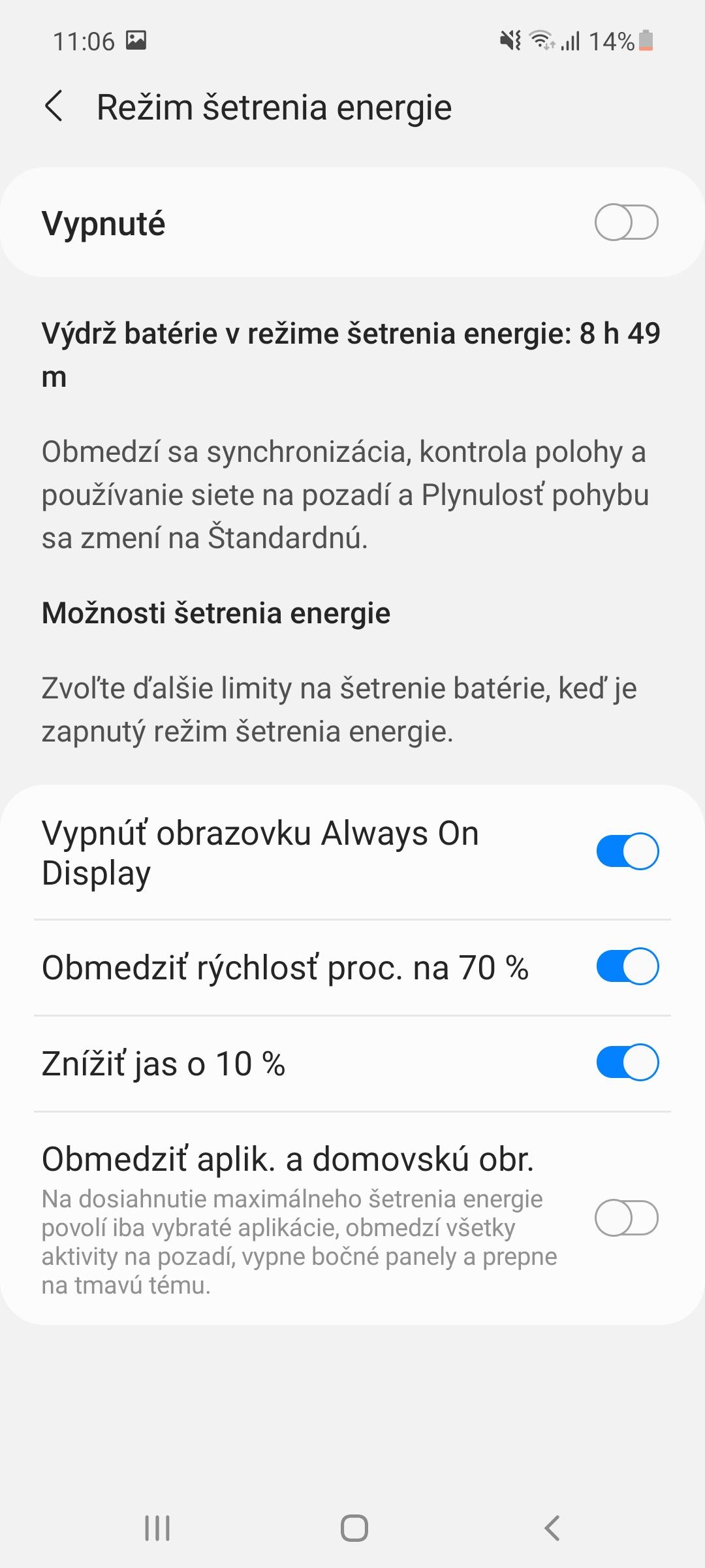 Nastavenia šetrenia batérie - Samsung Galaxy A52 (2)