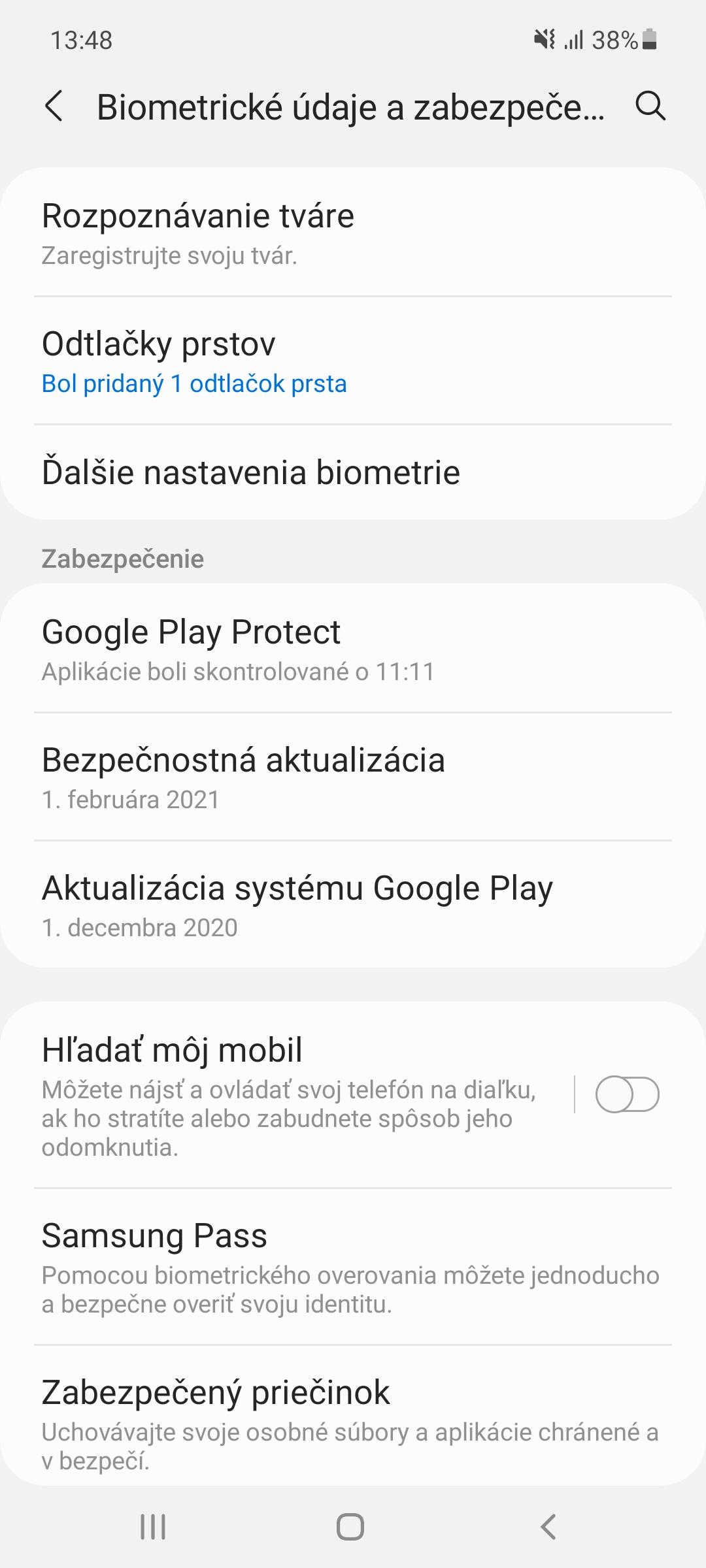 Samsung Galaxy A52 - Možnosti odomykania
