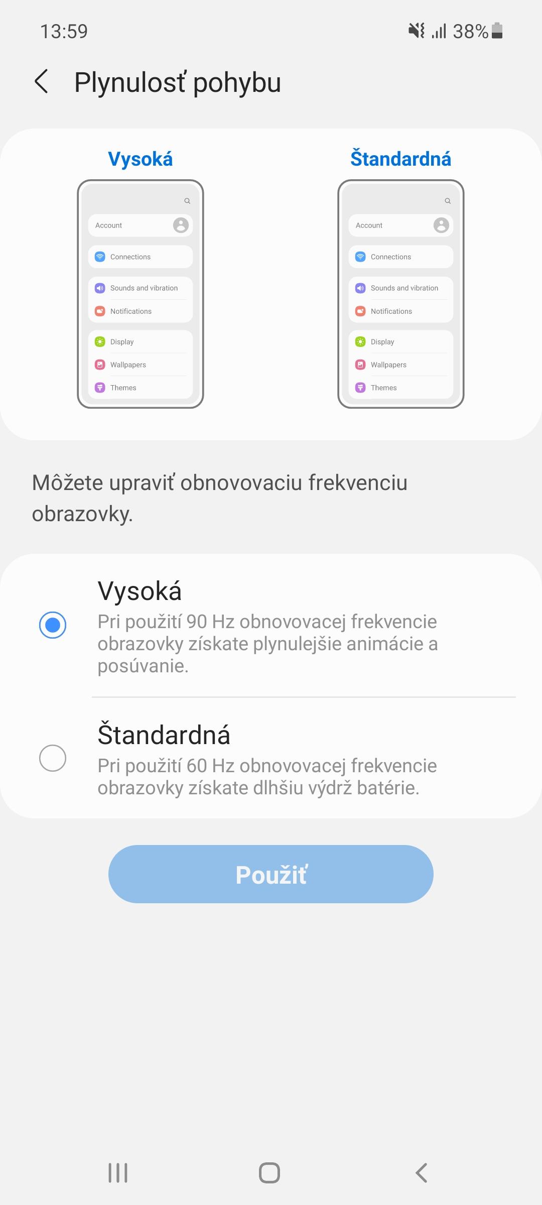 Samsung Galaxy A52 - nastavenia displeja
