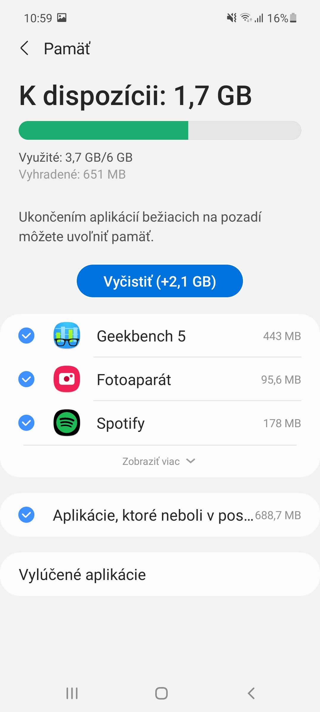 Samsung Galaxy A52 - pamäť