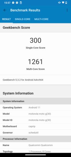 Výsledky benchmarku Geekbench - Motorola moto g30