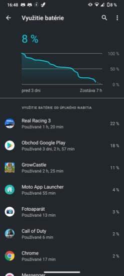 Snímka obrazovky výdrži batérie Motorola moto g30
