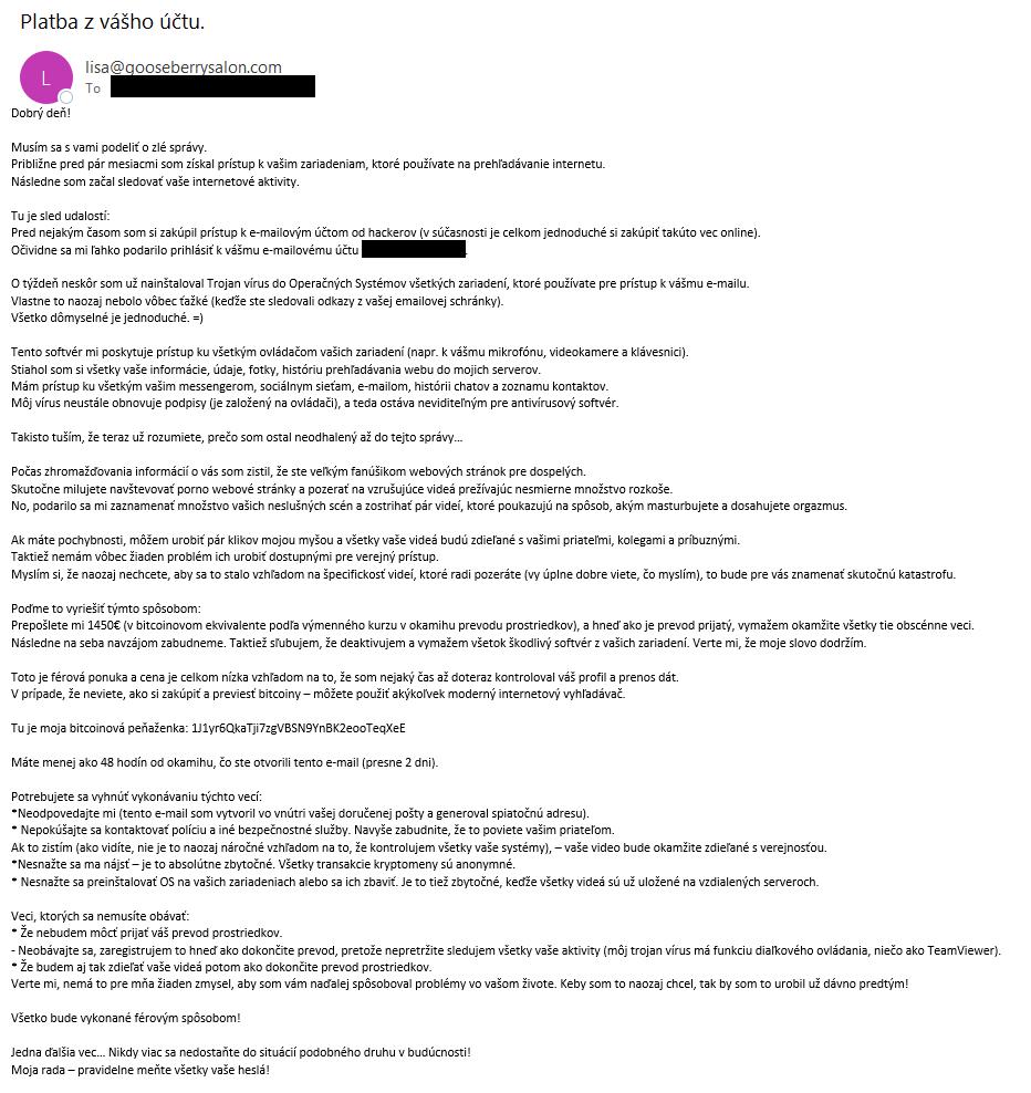 Podvod - snímka obrazovky podvodného emailu