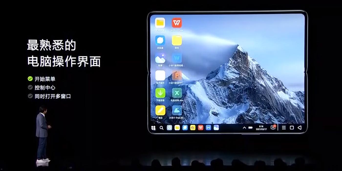 Xiaomi Mi Mix Fold desktopový režim