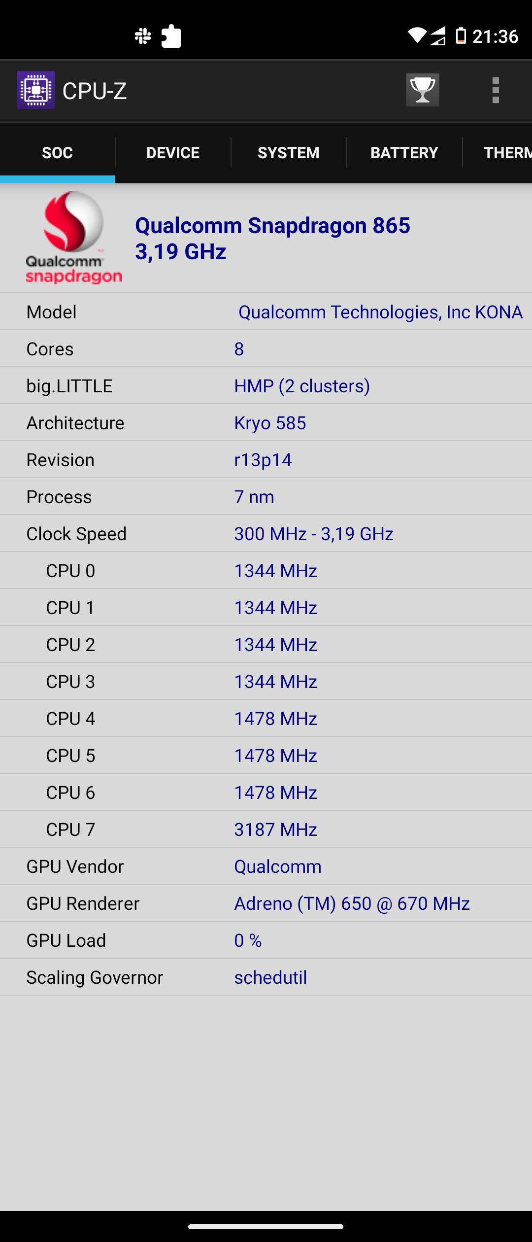 Motorola moto g100 CPU-Z