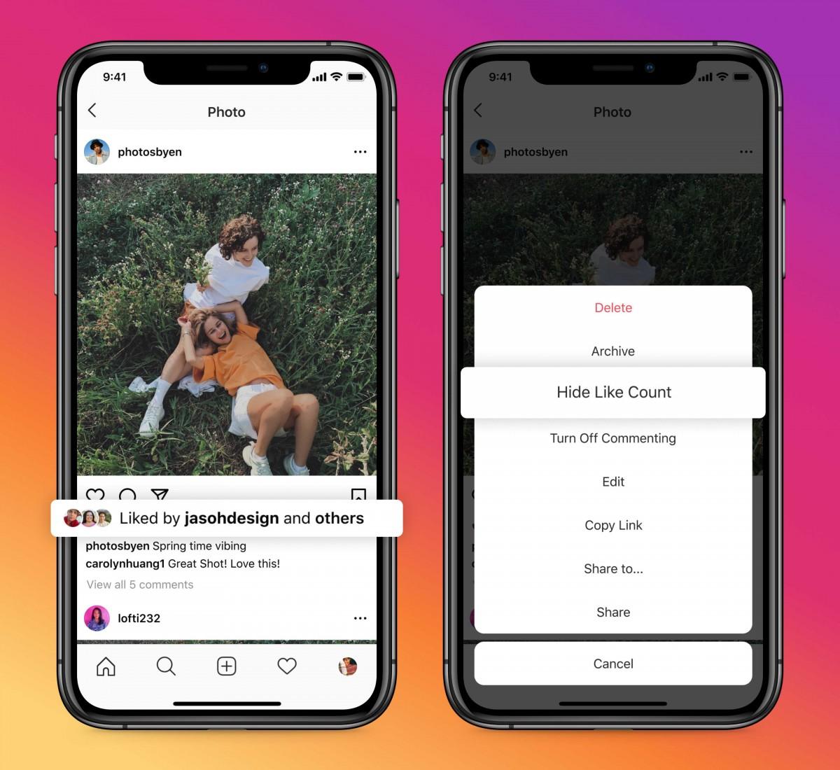 Instagram - skryť počet lajkov na vlastných príspevkoch