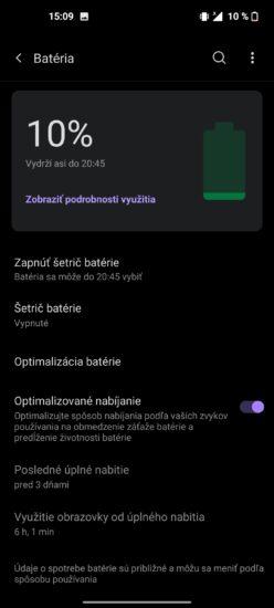 OnePlus Nord CE 5G nastavenie batérie
