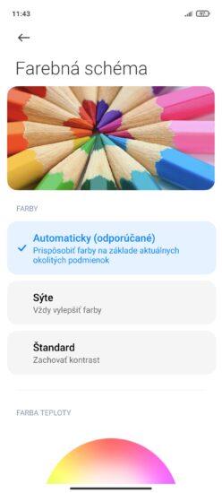 Redmi Note 10 5G - nastavenie farieb