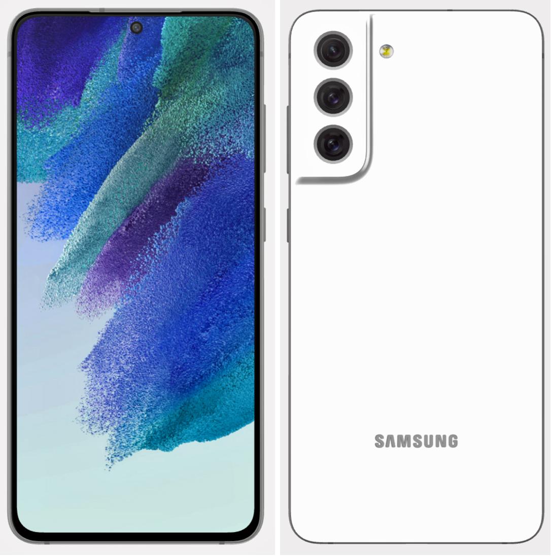 Samsung Galaxy S21 FE dizajn render - biela