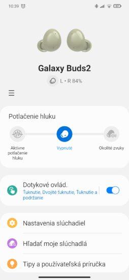 Galaxy Wearable domovská obrazovka