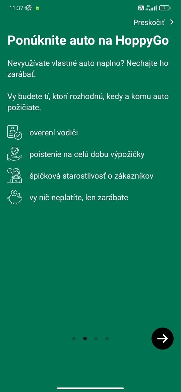 Úvodná obrazovka aplikácie HoppyGo