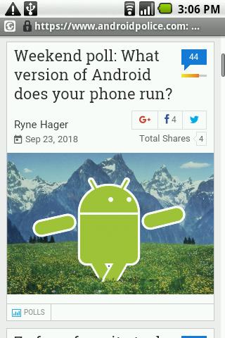Android 1.6 prehliadač