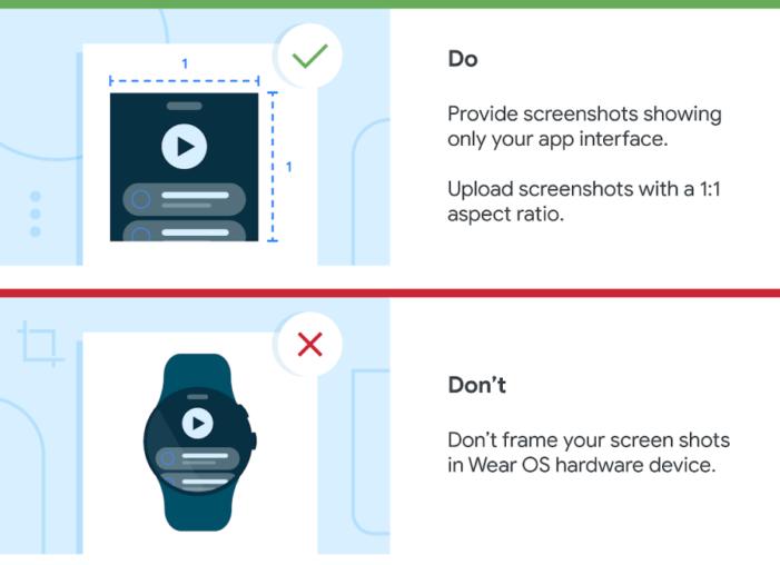 Pravidlá publikovania screenshotov pre Wear OS 3 aplikácie