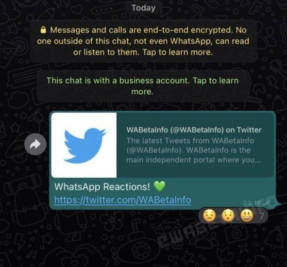 WhatsApp emodži reakcie