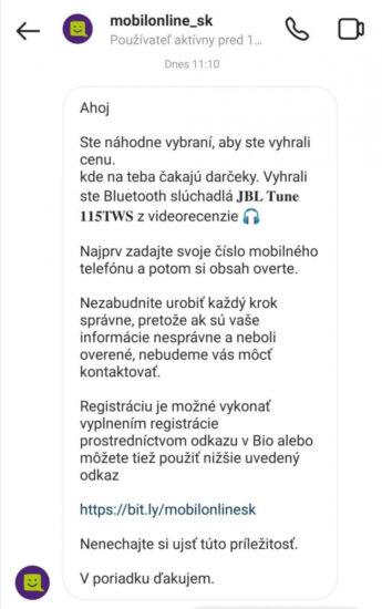 Mobilonline.sk podvod falošná výhra